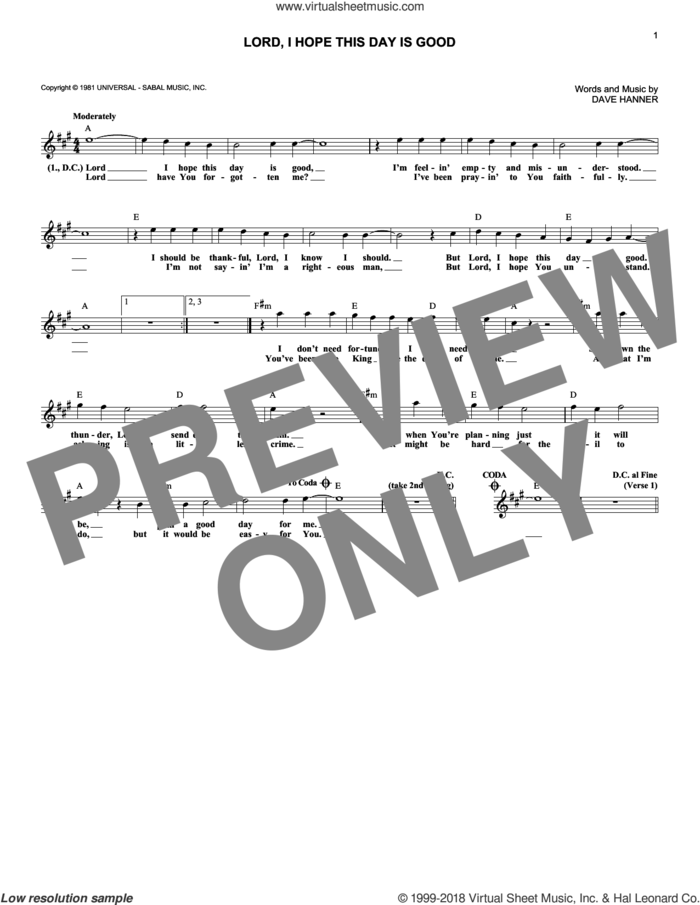 Lord, I Hope This Day Is Good sheet music for voice and other instruments (fake book) by Don Williams and Dave Hanner, intermediate skill level
