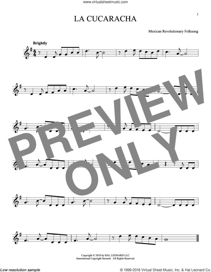 La Cucaracha sheet music for ocarina solo, intermediate skill level