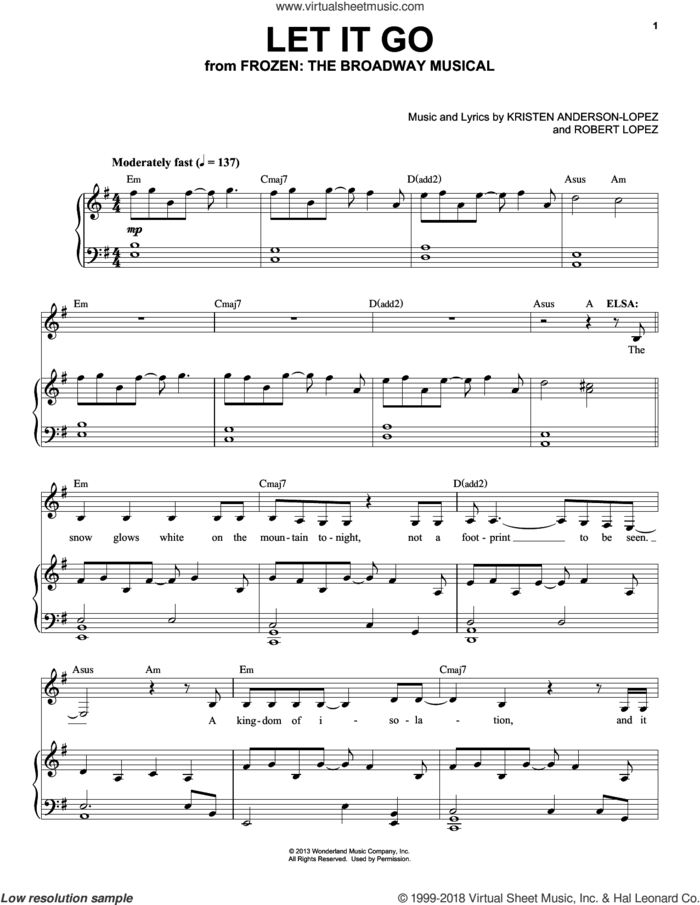 Let It Go (from Frozen: The Broadway Musical) sheet music for voice and piano by Robert Lopez, Idina Menzel, Kristen Anderson-Lopez and Kristen Anderson-Lopez & Robert Lopez, intermediate skill level