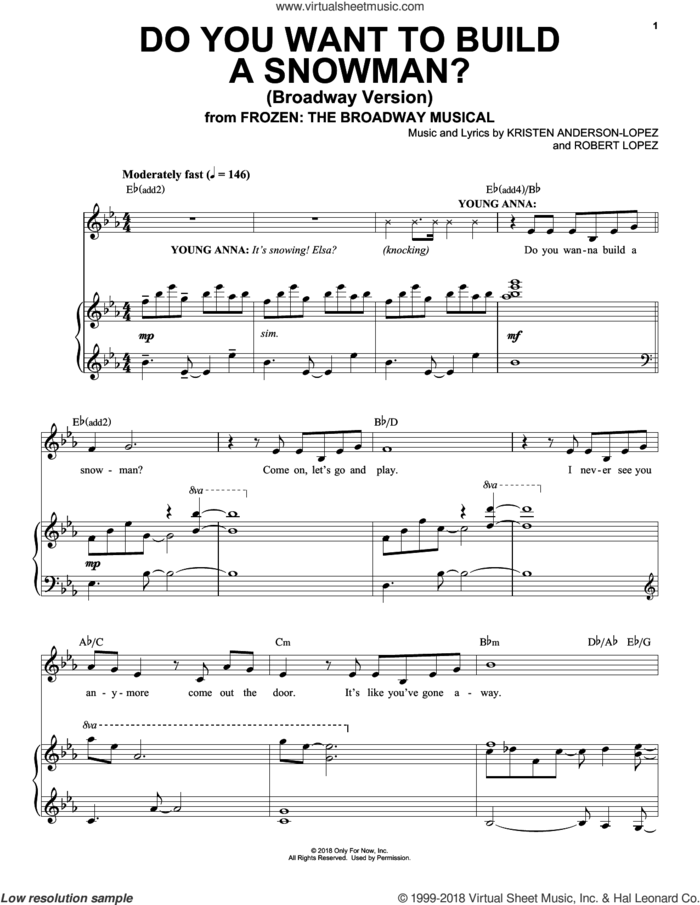 Do You Want To Build A Snowman? (Broadway Version) sheet music for voice and piano by Robert Lopez, Kristen Anderson-Lopez and Kristen Anderson-Lopez & Robert Lopez, intermediate skill level