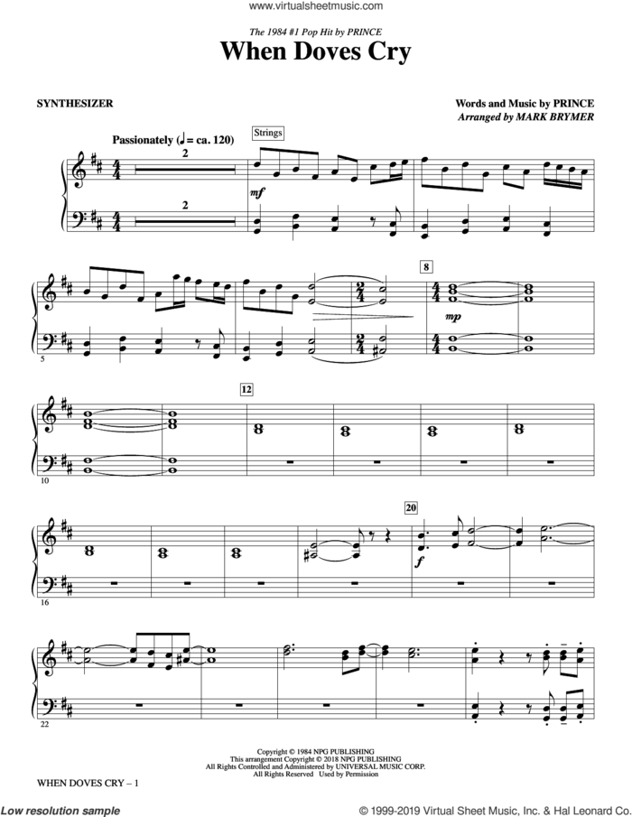 When Doves Cry (complete set of parts) sheet music for orchestra/band by Mark Brymer and Prince, intermediate skill level