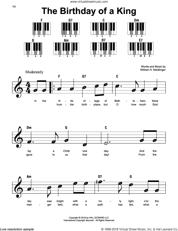 The Birthday Of A King, (beginner) sheet music for piano solo by William Harold Neidlinger, beginner skill level