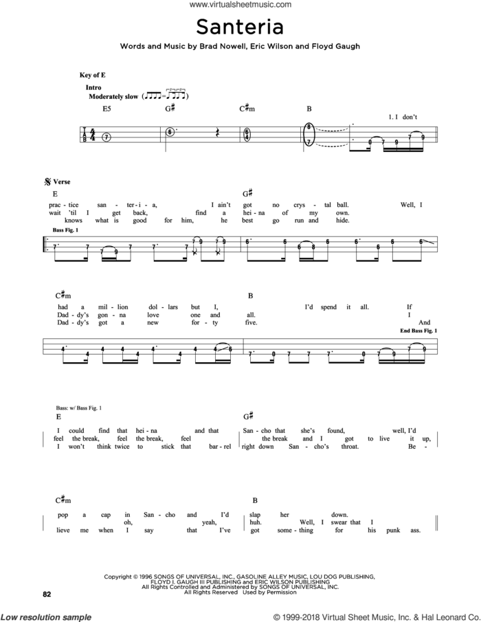 Santeria sheet music for bass solo by Sublime, Brad Nowell, Eric Wilson and Floyd Gaugh, intermediate skill level