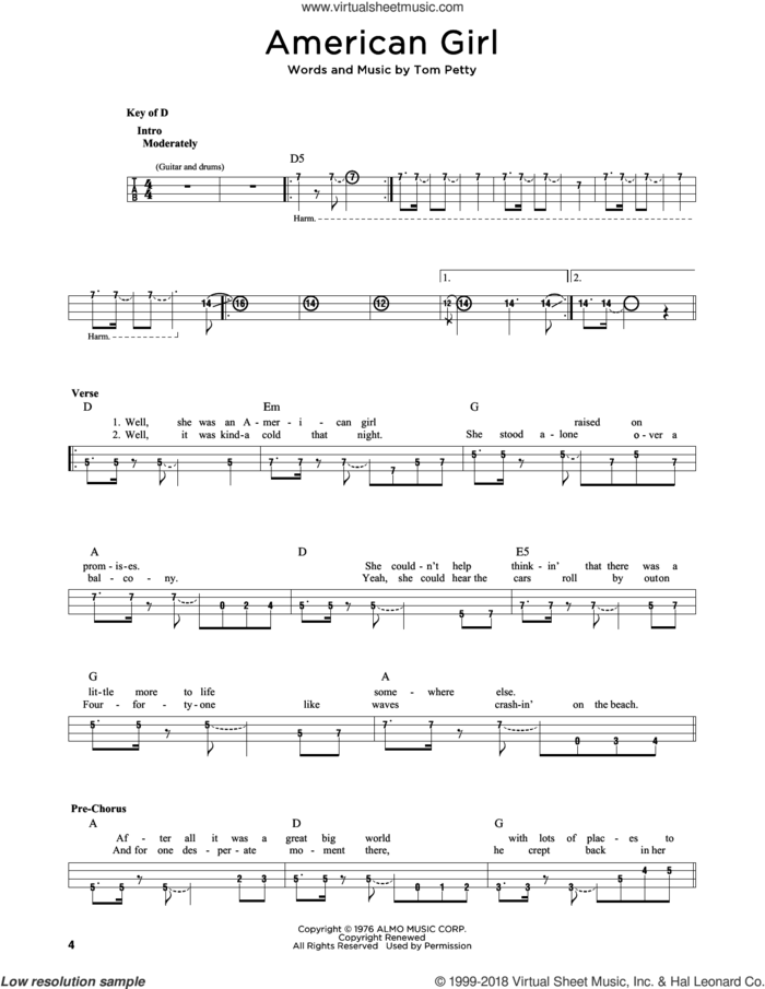 American Girl sheet music for bass solo by Tom Petty, intermediate skill level