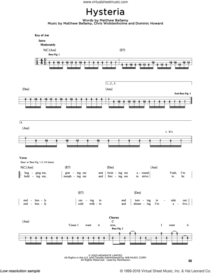 Hysteria sheet music for bass solo by Muse, Chris Wolstenholme, Dominic Howard and Matthew Bellamy, intermediate skill level