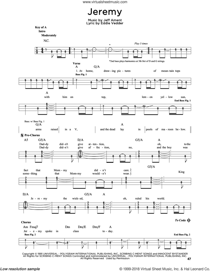 Jeremy sheet music for bass solo by Pearl Jam, Eddie Vedder and Jeff Ament, intermediate skill level