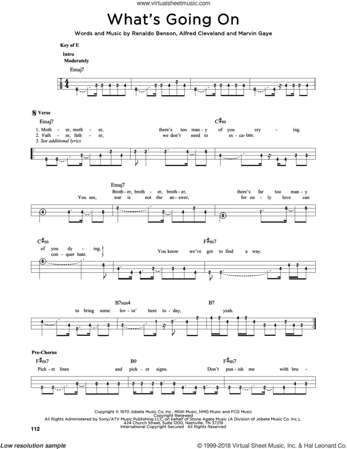 What's Going On sheet music for bass solo by Marvin Gaye, Al Cleveland and Renaldo Benson, intermediate skill level