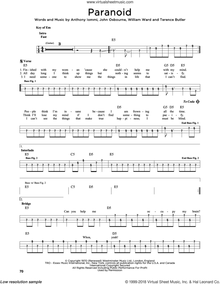 Paranoid sheet music for bass solo by Black Sabbath, Anthony Iommi, John Osbourne, Terence Butler and William Ward, intermediate skill level