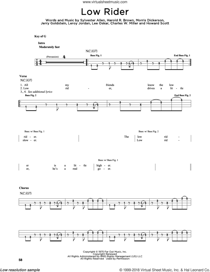Low Rider sheet music for bass solo by War, Charles W. Miller, Harold R. Brown, Howard Scott, Jerry Goldstein, Lee Oskar, Leroy Jordan, Morris Dickerson and Sylvester Allen, intermediate skill level
