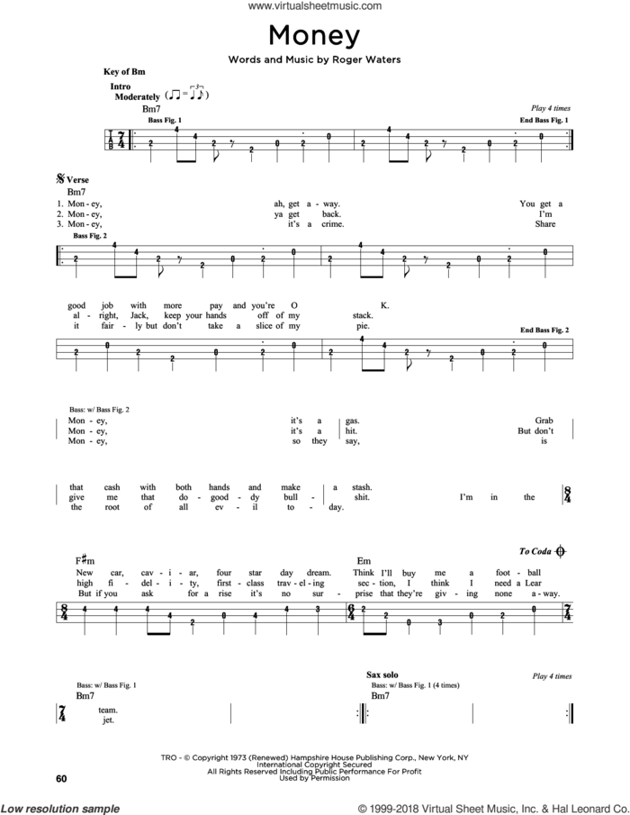 Money sheet music for bass solo by Pink Floyd and Roger Waters, intermediate skill level
