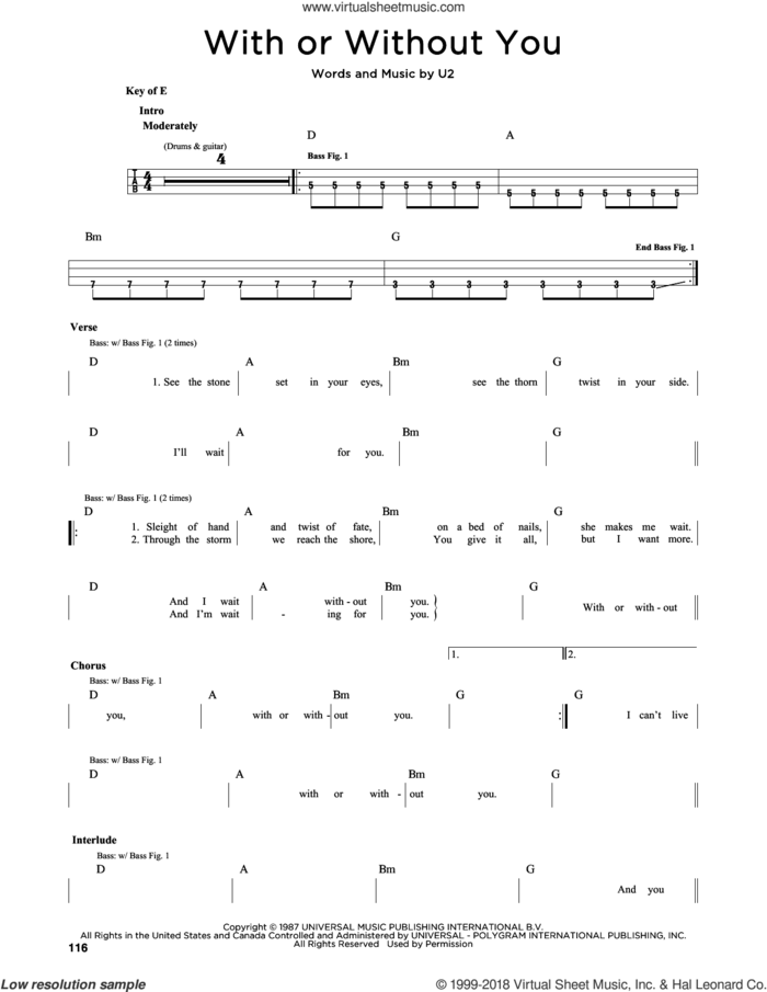 With Or Without You sheet music for bass solo by U2, intermediate skill level