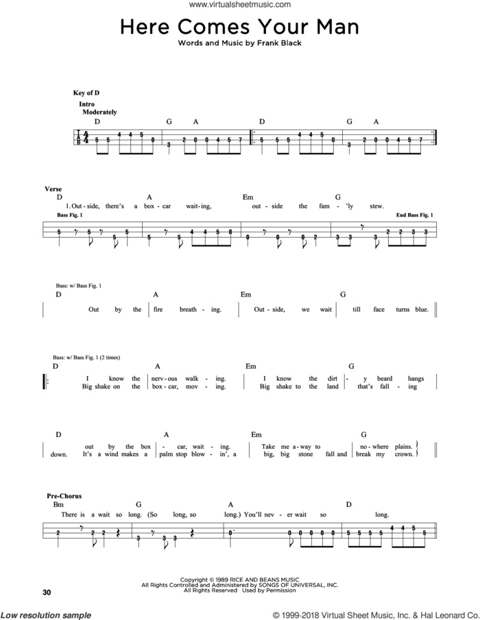 Here Comes Your Man sheet music for bass solo by The Pixies and Francis Black, intermediate skill level