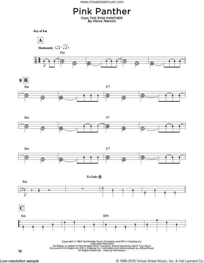 The Pink Panther sheet music for bass solo by Henry Mancini, intermediate skill level