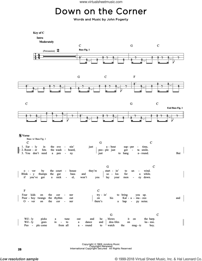 Down On The Corner sheet music for bass solo by Creedence Clearwater Revival and John Fogerty, intermediate skill level