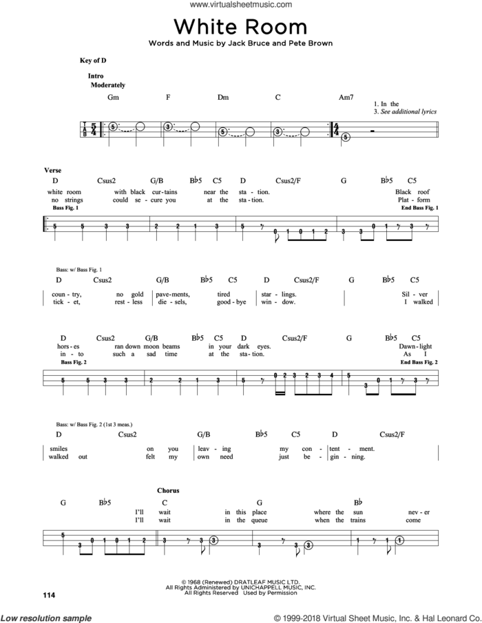 White Room sheet music for bass solo by Cream, Jack Bruce and Pete Brown, intermediate skill level