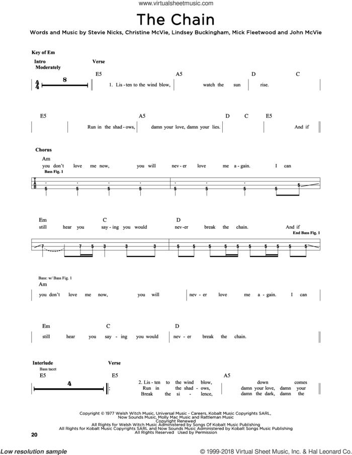 The Chain sheet music for bass solo by Fleetwood Mac, Christine McVie, John McVie, Lindsey Buckingham, Mick Fleetwood and Stevie Nicks, intermediate skill level