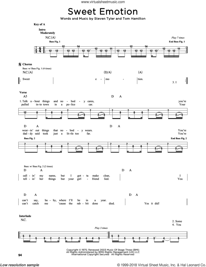 Sweet Emotion sheet music for bass solo by Aerosmith, Steven Tyler and Tom Hamilton, intermediate skill level
