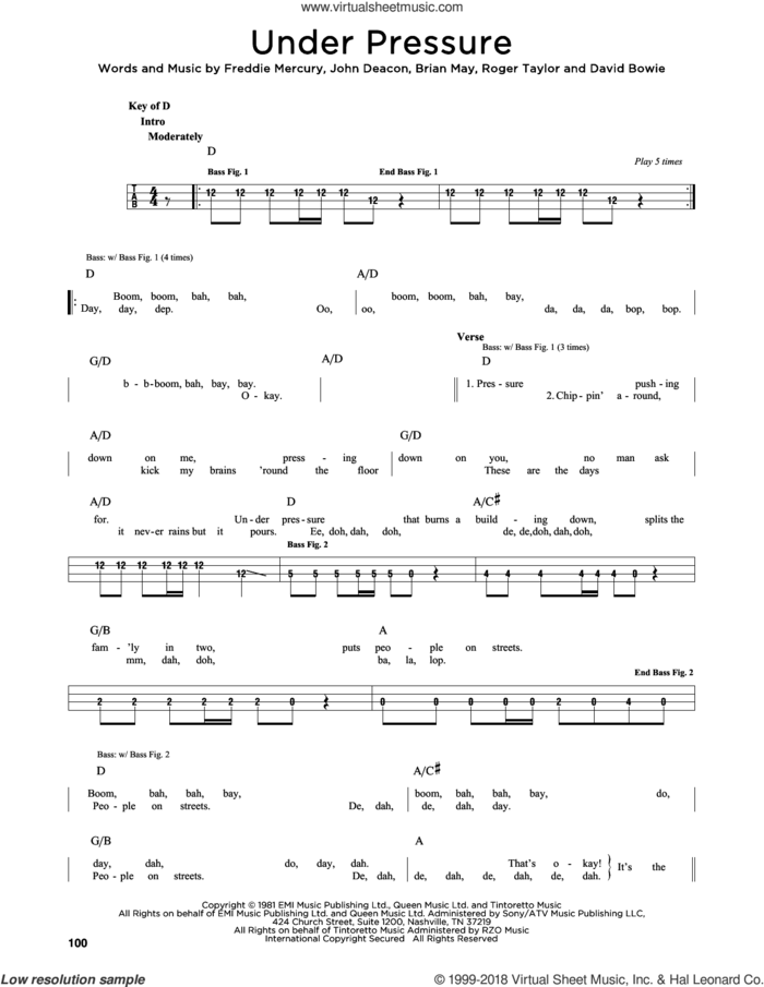 Under Pressure sheet music for bass solo by Queen & David Bowie, Queen, Brian May, David Bowie, Freddie Mercury, John Deacon and Roger Taylor, intermediate skill level