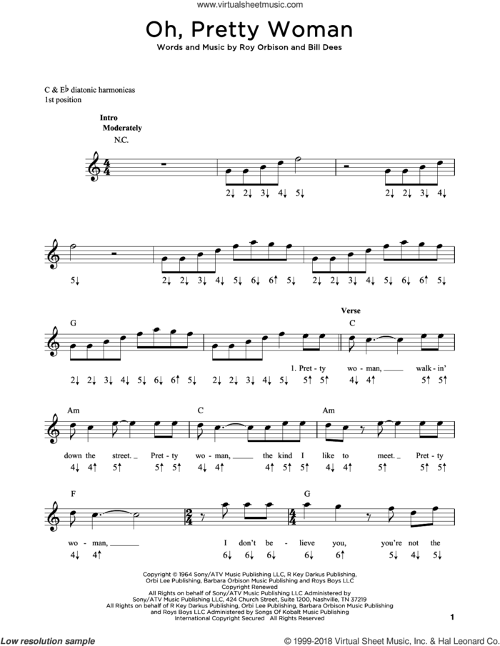 Oh, Pretty Woman sheet music for harmonica solo by Roy Orbison, Edward Van Halen and Bill Dees, intermediate skill level