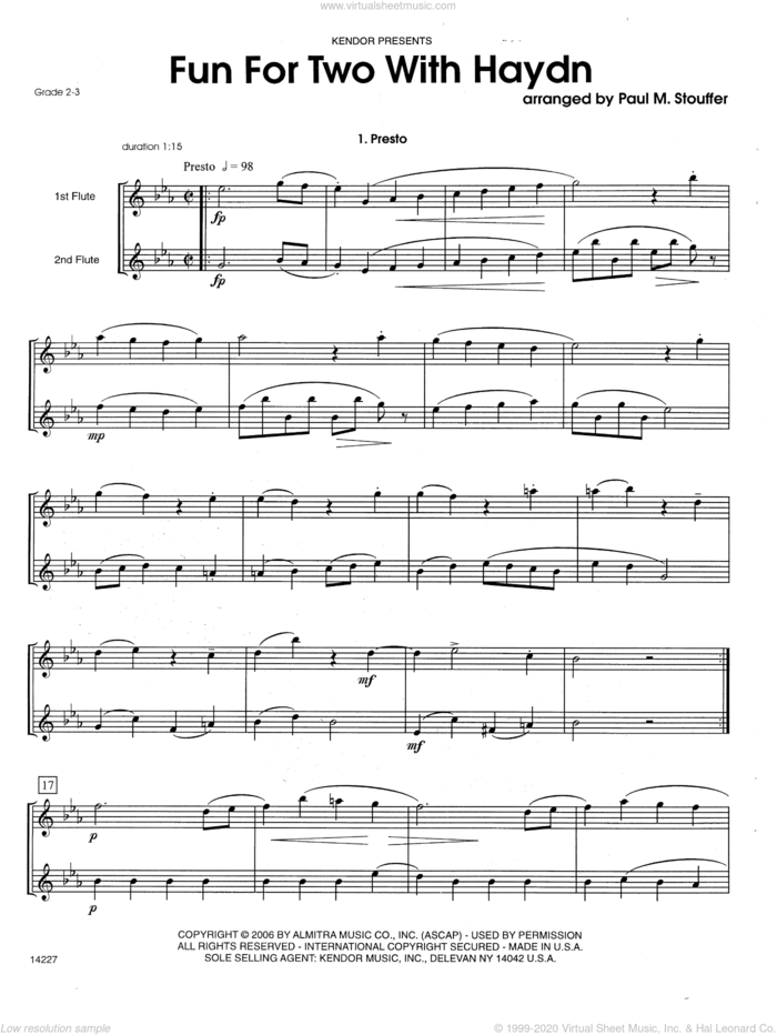 Fun For Two With Haydn sheet music for two flutes by Franz Joseph Haydn and Paul M. Stouffer, classical score, intermediate duet
