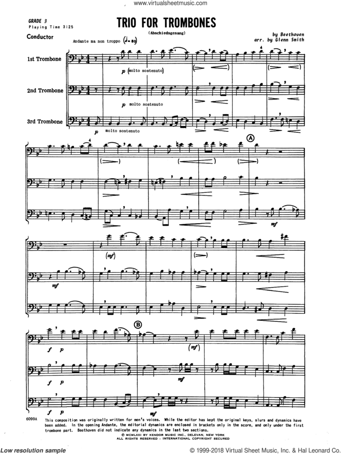 Trio For Trombones (Abschiedsgesang) (COMPLETE) sheet music for trombone trio by Ludwig van Beethoven and Glenn Smith, classical score, intermediate skill level