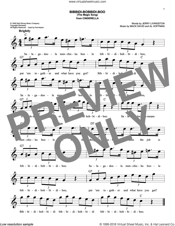 Bibbidi-Bobbidi-Boo (The Magic Song) (from Disney's Cinderella) sheet music for voice and other instruments (fake book) by Al Hoffman, Jerry Livingston and Mack David, intermediate skill level