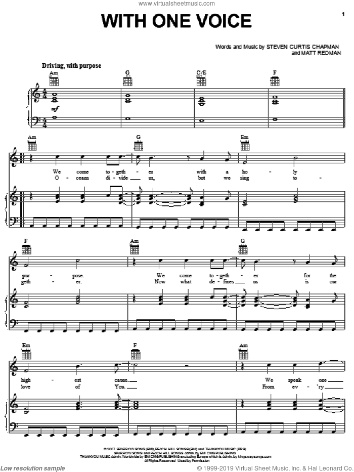 With One Voice sheet music for voice, piano or guitar by Steven Curtis Chapman and Matt Redman, intermediate skill level