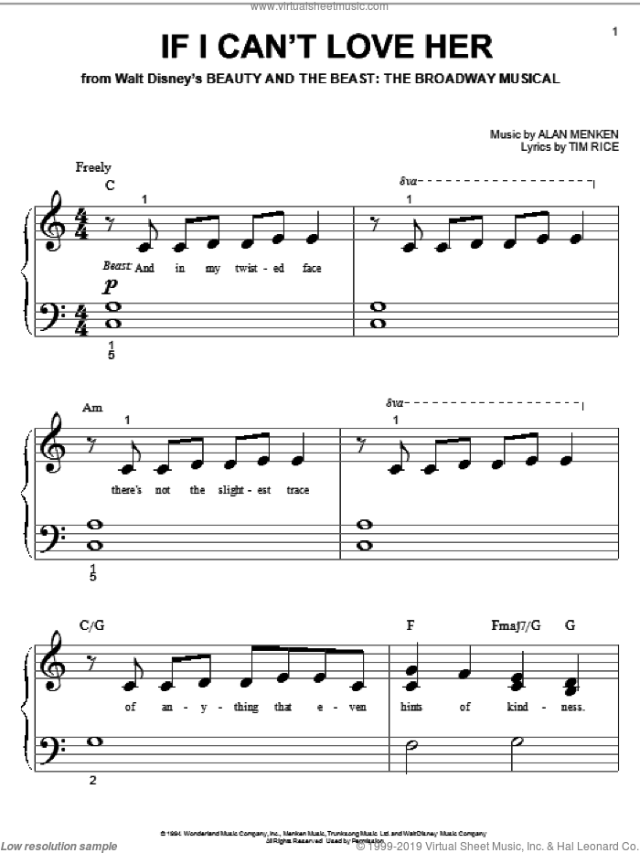 If I Can't Love Her sheet music for piano solo (big note book) by Alan Menken, Beauty And The Beast and Tim Rice, easy piano (big note book)