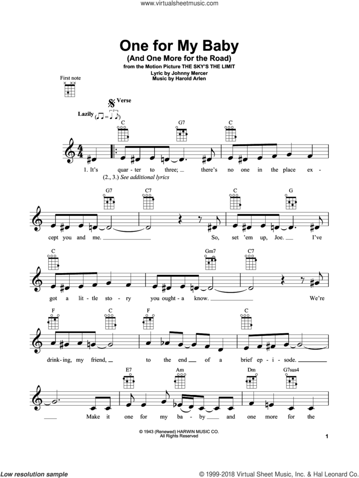 One For My Baby (And One More For The Road) sheet music for ukulele by Frank Sinatra, Harold Arlen and Johnny Mercer, intermediate skill level
