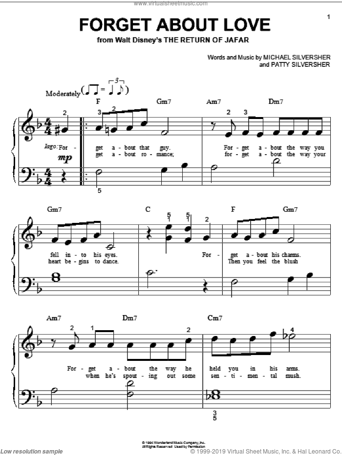 Forget About Love (from The Return of Jafar) sheet music for piano solo (big note book) by Michael Silversher and Patty Silversher, easy piano (big note book)