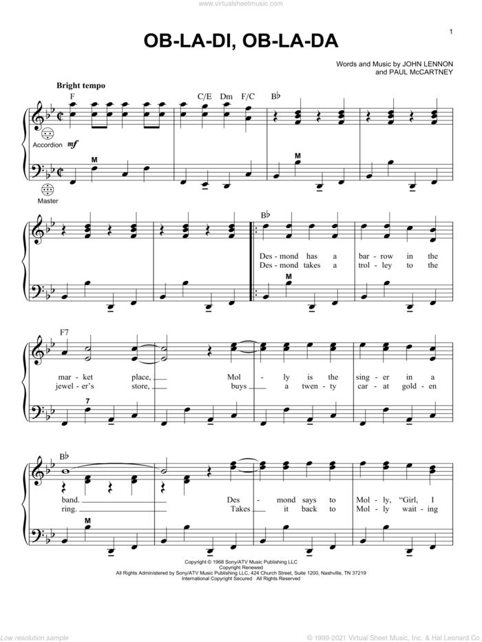 Ob-La-Di, Ob-La-Da sheet music for accordion by The Beatles, John Lennon and Paul McCartney, intermediate skill level