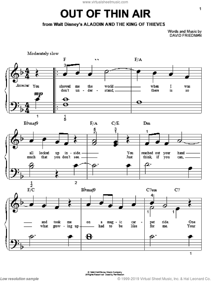 Out Of Thin Air (from Aladdin and the King of Thieves) sheet music for piano solo (big note book) by David Friedman, easy piano (big note book)