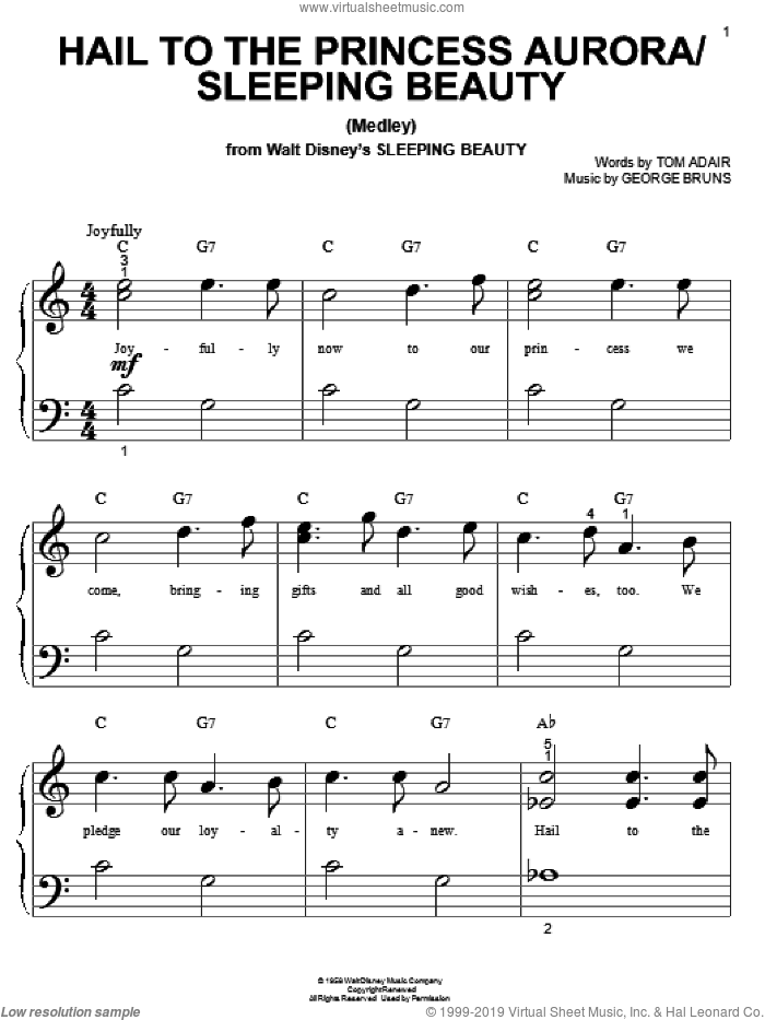 Hail To The Princess Aurora sheet music for piano solo (big note book) by Tom Adair and George Bruns, easy piano (big note book)