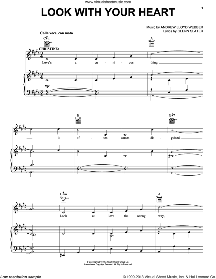 Look With Your Heart sheet music for voice, piano or guitar by Andrew Lloyd Webber and Glenn Slater, intermediate skill level