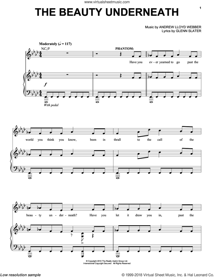 The Beauty Underneath sheet music for voice, piano or guitar by Andrew Lloyd Webber and Glenn Slater, intermediate skill level