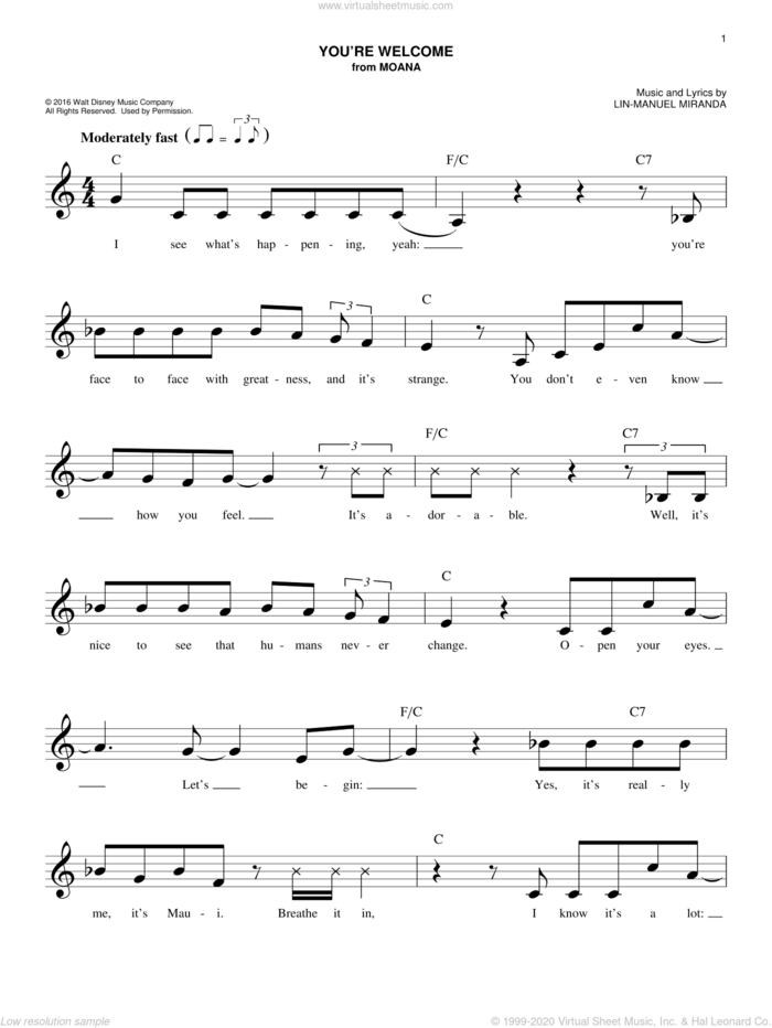 You're Welcome (from Moana) sheet music for voice and other instruments (fake book) by Lin-Manuel Miranda, intermediate skill level