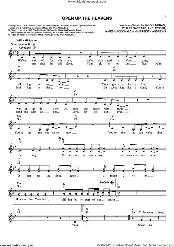 Open Up The Heavens sheet music for voice and other instruments (fake book) by Meredith Andrews, Andi Rozier, James MacDonald, Jason Ingram and Stuart Garrard, intermediate skill level