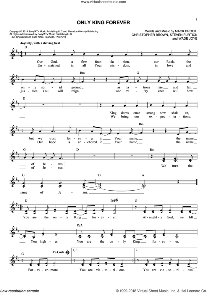 Only King Forever sheet music for voice and other instruments (fake book) by Mack Brock, Elevation Worship, Chris Brown, Steven Furtick and Wade Joye, intermediate skill level