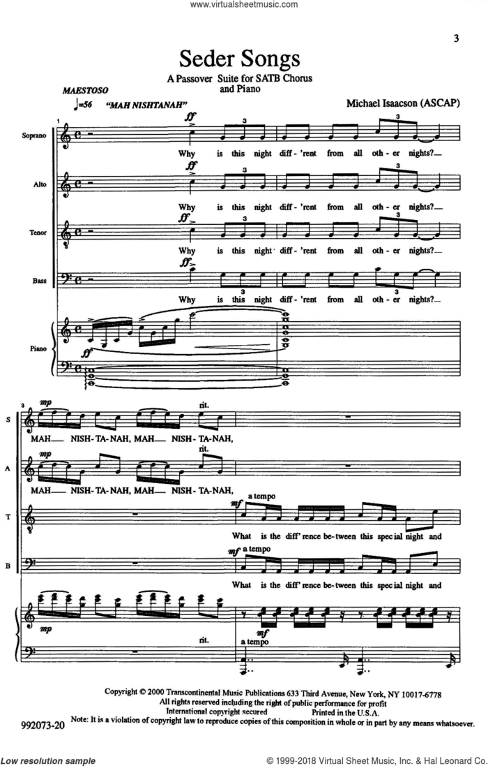 Seder Songs sheet music for choir (SATB: soprano, alto, tenor, bass) by Michael Isaacson, intermediate skill level