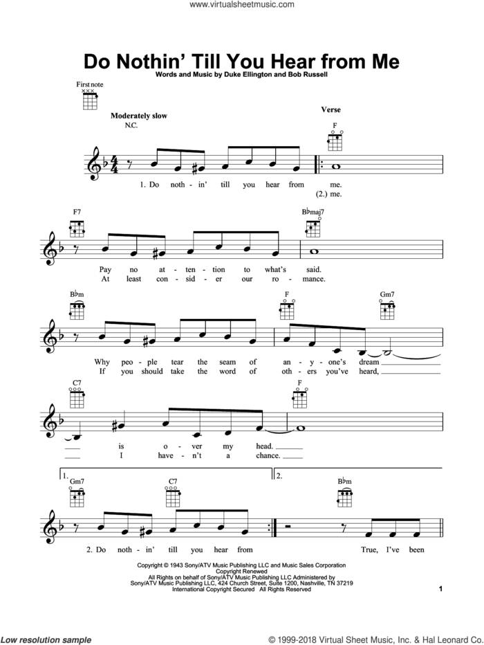 Do Nothin' Till You Hear From Me sheet music for ukulele by Duke Ellington and Bob Russell, intermediate skill level
