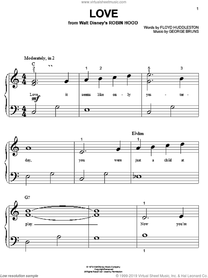 Love sheet music for piano solo (big note book) by Floyd Huddleston and George Bruns, easy piano (big note book)