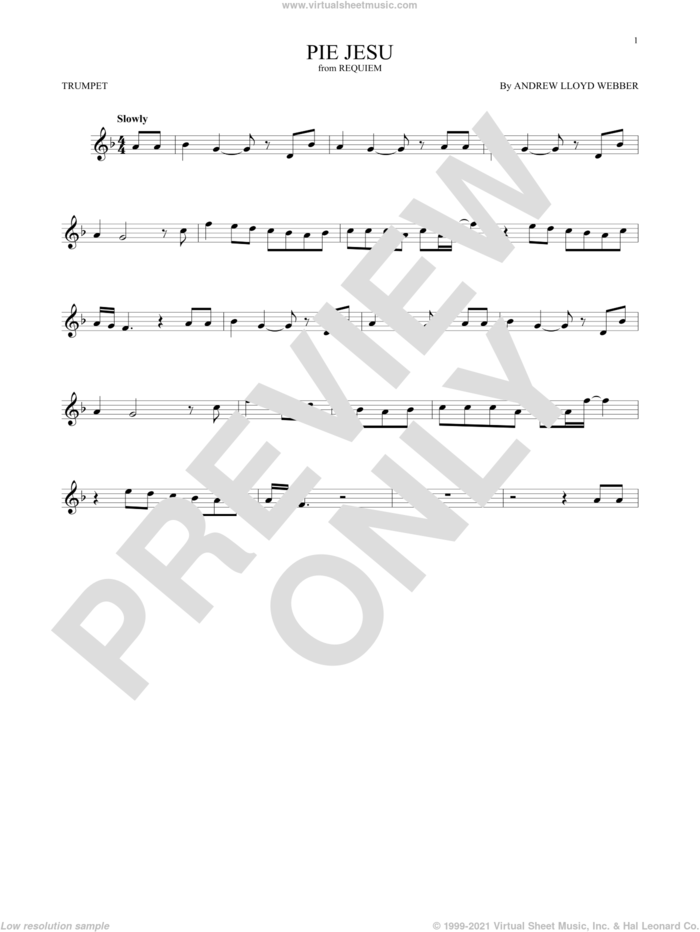Pie Jesu (from Requiem) sheet music for trumpet solo by Andrew Lloyd Webber and Sarah Brightman, classical score, intermediate skill level