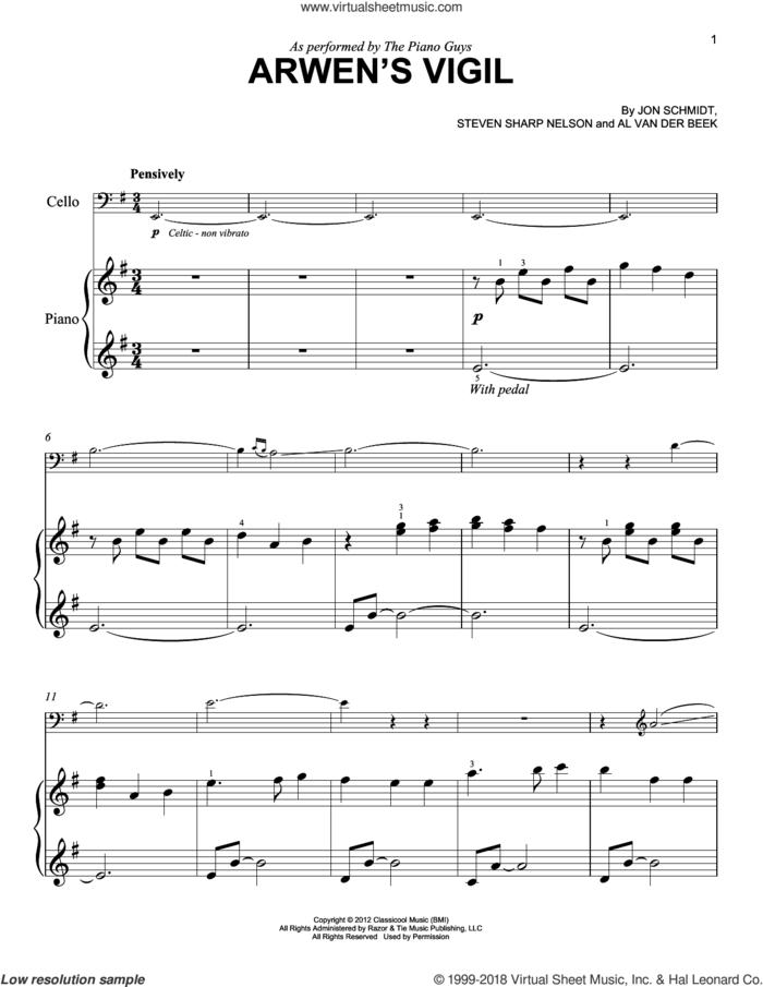 Arwen's Vigil sheet music for piano solo by The Piano Guys, Al van der Beek, Jon Schmidt and Steven Sharp Nelson, easy skill level