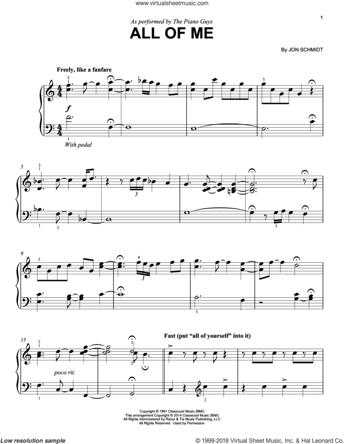 All Of Me sheet music for piano solo by The Piano Guys and Jon Schmidt, easy skill level