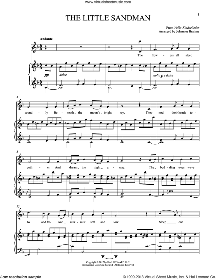 Sandmannchen (The Little Sandman), WoO 31, No. 4 sheet music for voice and piano by Johannes Brahms, classical score, intermediate skill level
