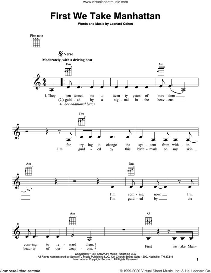 First We Take Manhattan sheet music for ukulele by Leonard Cohen, intermediate skill level