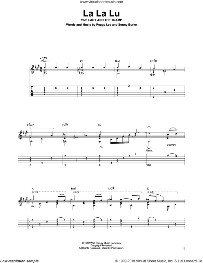 La La Lu (from Lady And The Tramp) sheet music for guitar solo by Sonny Burke and Peggy Lee, intermediate skill level