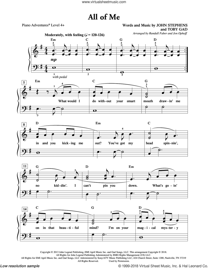 All of Me sheet music for piano solo by Toby Gad, Randall Faber & Jon Ophoff, John Legend and John Stephens, intermediate/advanced skill level
