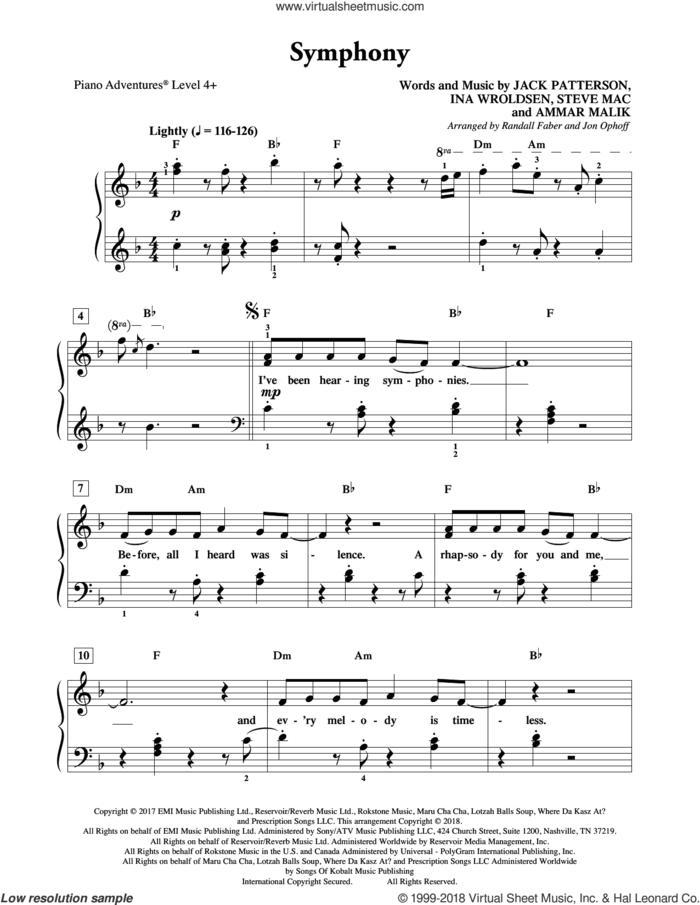 Symphony sheet music for piano solo by Steve Mac, Randall Faber & Jon Ophoff, Clean Bandit feat. Zara Larsson, Ammar Malik, Ina Wroldsen and Jack Patterson, intermediate/advanced skill level