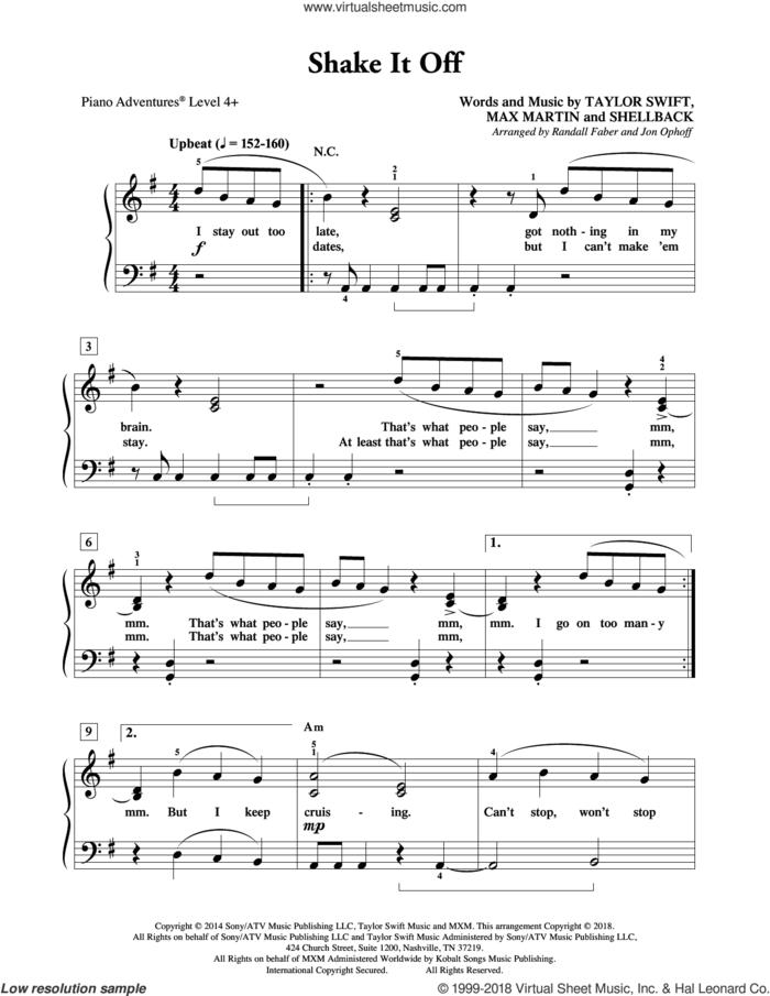 Shake It Off sheet music for piano solo by Taylor Swift, Randall Faber & Jon Ophoff, Johan Schuster, Max Martin and Shellback, intermediate/advanced skill level